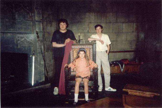 Paul Boland visits the Knightmare set. Sister Julie sits on Treguard's chair.