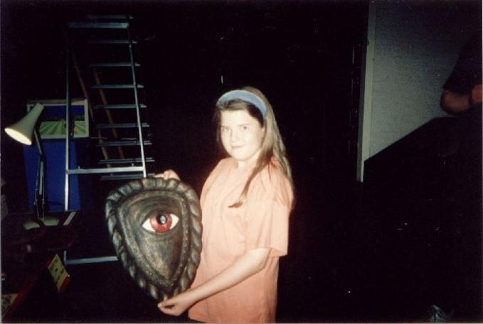 Paul Boland's sister with the Eye Shield. From their 1993 visit to the studios.