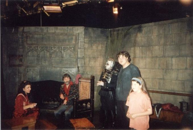 Paul Boland and friends in the antechamber as Lord Fear (Mark Knight) pays a visit.