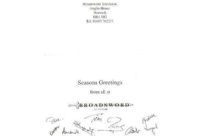 Signatures inside the Christmas card Paul Boland received from Broadsword.