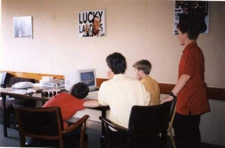 Ray Lockton and team use the Amiga in the green room at Anglia.