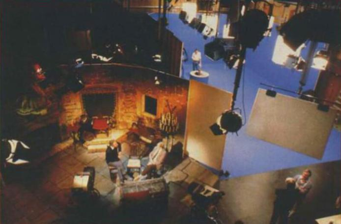 An aerial shot of the whole Knightmare studio, with antechamber and bluescreen.