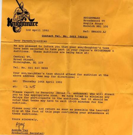An audition letter from 1992 inviting the team to Birmingham.
