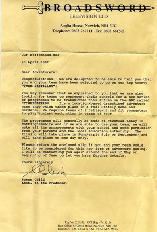 A post-audition letter from 1992 confirming the team have made the shortlist.