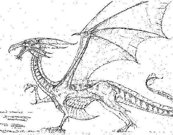 An early sketch for a prototype dragon from Mark Cordory's studio.