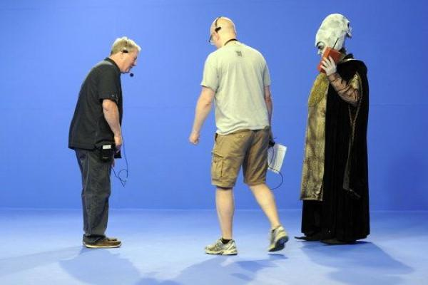 Creator of Knightmare, Tim Child, makes arrangements on set for the YouTube Geek Week episode in 2013.