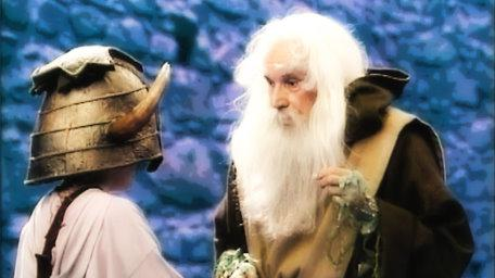 Merlin the Magician, as played by John Woodnutt in Series 4 of Knightmare (1990).