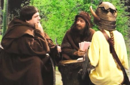 Knightmare Series 5 Team 1. Brother Mace is playing cards with a beggar, Sylvester Hands.