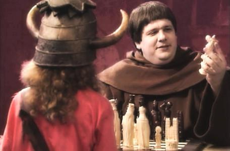 Knightmare Series 5 Team 3. Brother Mace invites Sarah to a game of chess.