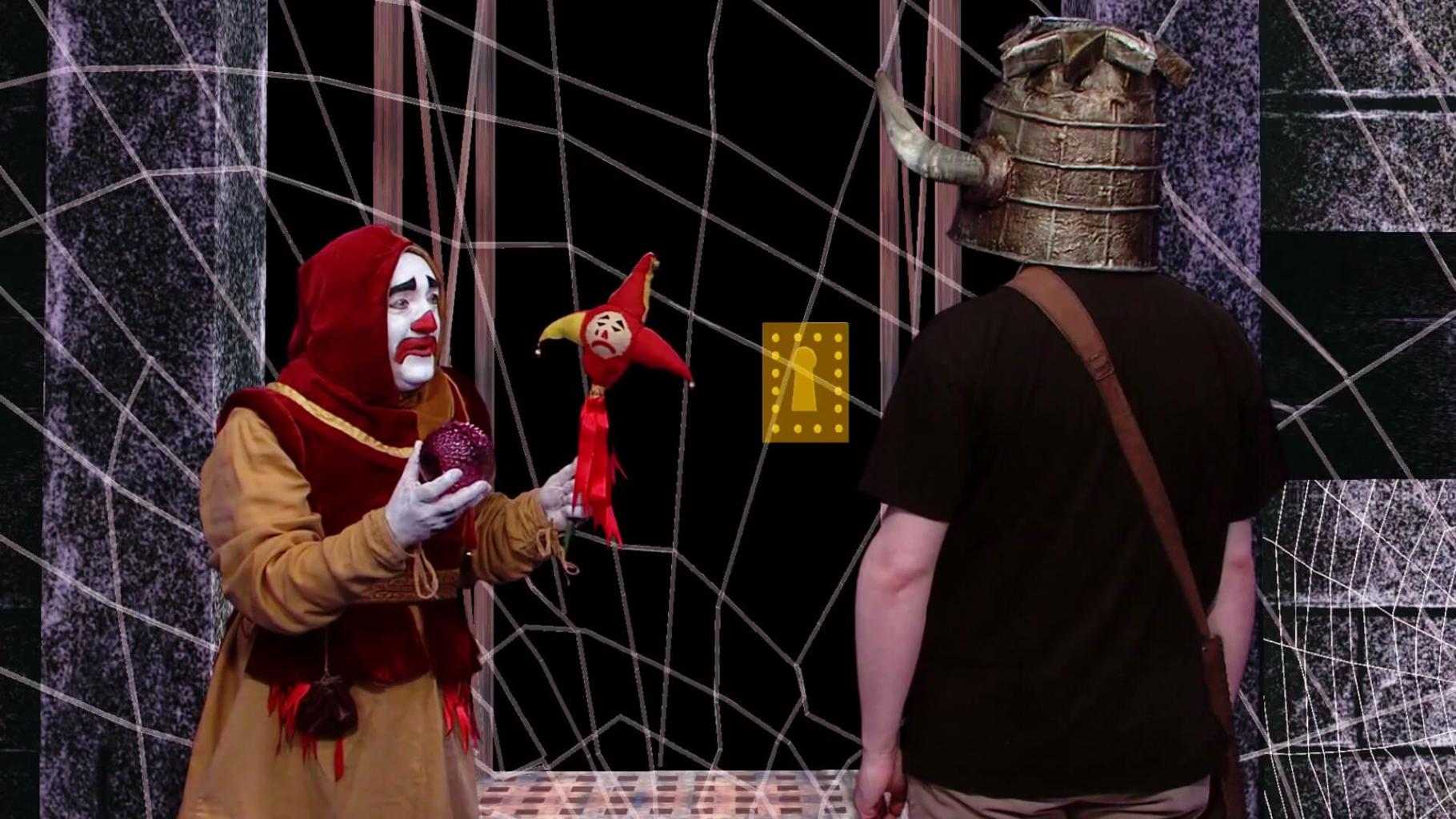 Sylvester the Jester (Nick Collett) in the Geek Week episode of Knightmare (2013)