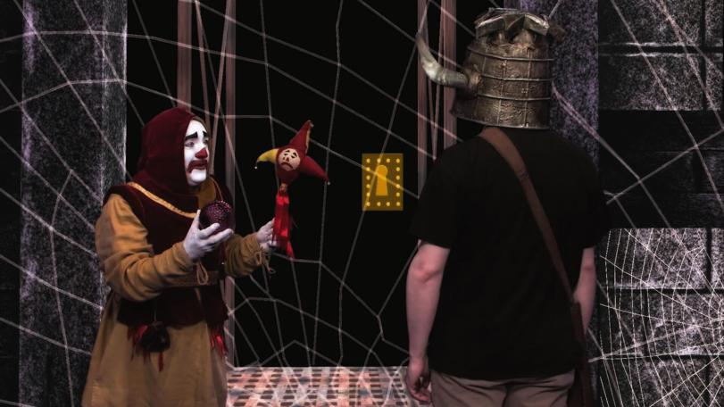 Nick Collett as Sylvester the Jester in the 2013 Geek Week Episode of Knightmare.