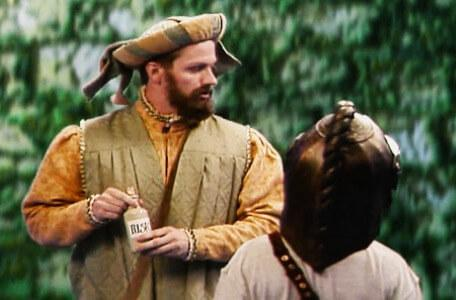 Knightmare Series 8 Team 3. Honesty Bartam has a shifty look around before offering Nathan a potion.