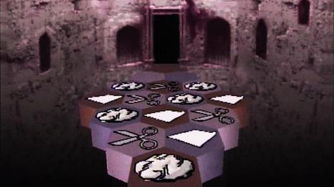A causeway puzzle of rock, paper and scissors in Series 5 (1991).