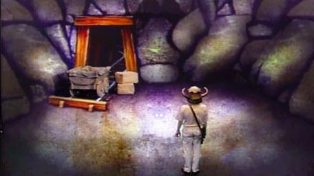 The second variant of the Mine, based on a handpainted scene by David Rowe, as shown on Series 3 of Knightmare (1989).