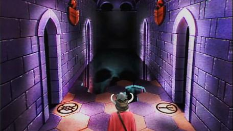The Corridor of the Catacombs, based on a handpainted scene by David Rowe, as shown on Series 1 of Knightmare (1987).