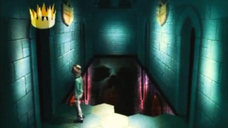 The Corridor of the Catacombs, based on a handpainted scene by David Rowe, as shown on Series 2 of Knightmare (1988).