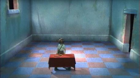 A variant of the Level 1 clue room, based on a handpainted scene by David Rowe, as shown on Series 1 of Knightmare (1987).