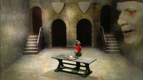 A variant of the Level 3 clue room, based on a handpainted scene by David Rowe, as shown on Series 3 of Knightmare (1989).