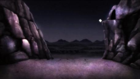 The end (cliff sequence) of Death Valley, based on a handpainted scene by David Rowe, as shown on Series 3 of Knightmare (1989).