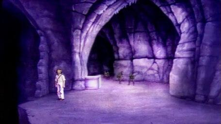 The final part of Death Valley, based on a handpainted scene by David Rowe, as shown on Series 3 of Knightmare (1989).