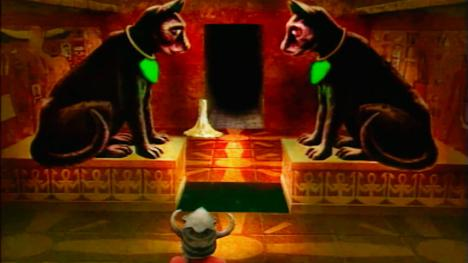 The 'Egyptian' Room with two lynxes. Found in Level 3 on Series 3 of Knightmare.