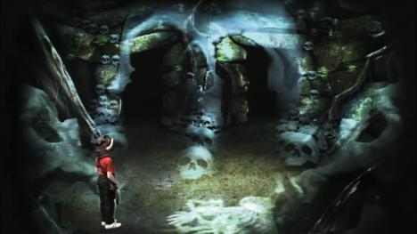 The Skeleton Room was often used at the entrance to Level 3. This variation is from Series 1 of Knightmare.