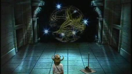 The Wheel of Fate or Wheel of Fortune, based on a handpainted scene by David Rowe, as shown on Series 2 of Knightmare (1988).