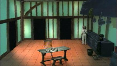 The kitchen, based on a handpainted scene by David Rowe, as shown on Series 3 of Knightmare (1989).
