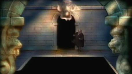 The Lion's Head (ledge challenge), based on a handpainted scene by David Rowe, as shown on El Rescate del Talisman - the Spanish adaptation of Knightmare.