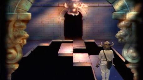 The Lion's Head (ledge challenge), based on a handpainted scene by David Rowe, as shown on Series 3 of Knightmare (1989).