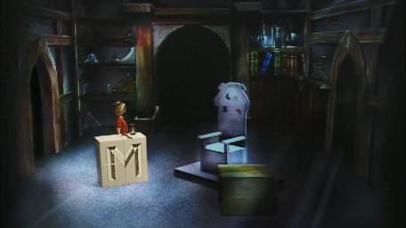 The first variant of Merlin's Room, based on a handpainted scene by David Rowe, as shown on Series 1 of Knightmare (1987).