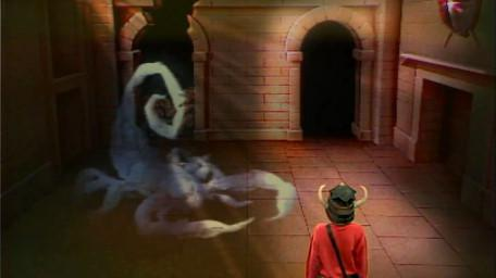A variant of the Snake / Scorpion Room, based on a handpainted scene by David Rowe, as shown on Series 1 of Knightmare (1987).