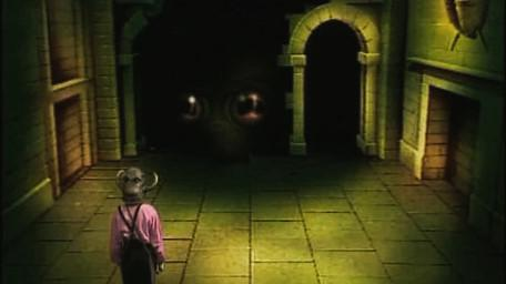 A variant of the Snake / Scorpion Room, based on a handpainted scene by David Rowe, as shown on Series 2 of Knightmare (1988).