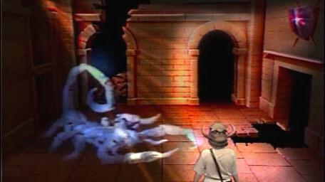 A variant of the Snake / Scorpion Room, based on a handpainted scene by David Rowe, as shown on Series 3 of Knightmare (1989).