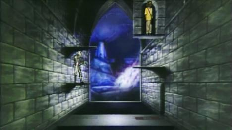 The Transporter Pads challenge, with a waterfall in the distance. Seen in Series 4 of Knightmare.