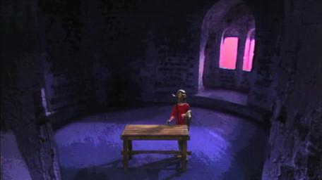 A circular room, as seen in Series 4 of Knightmare (1990).