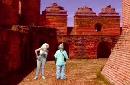 Knightmare Series 7 Team 1. Romahna argues with the dungeoneer in a courtyard.