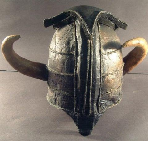Front view of the original Helmet of Justice from Knightmare.
