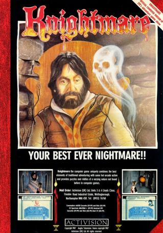 Advertising poster for the Knightmare computer game by Activision for Spectrum, Commodore 64 and Amstrad CPC.