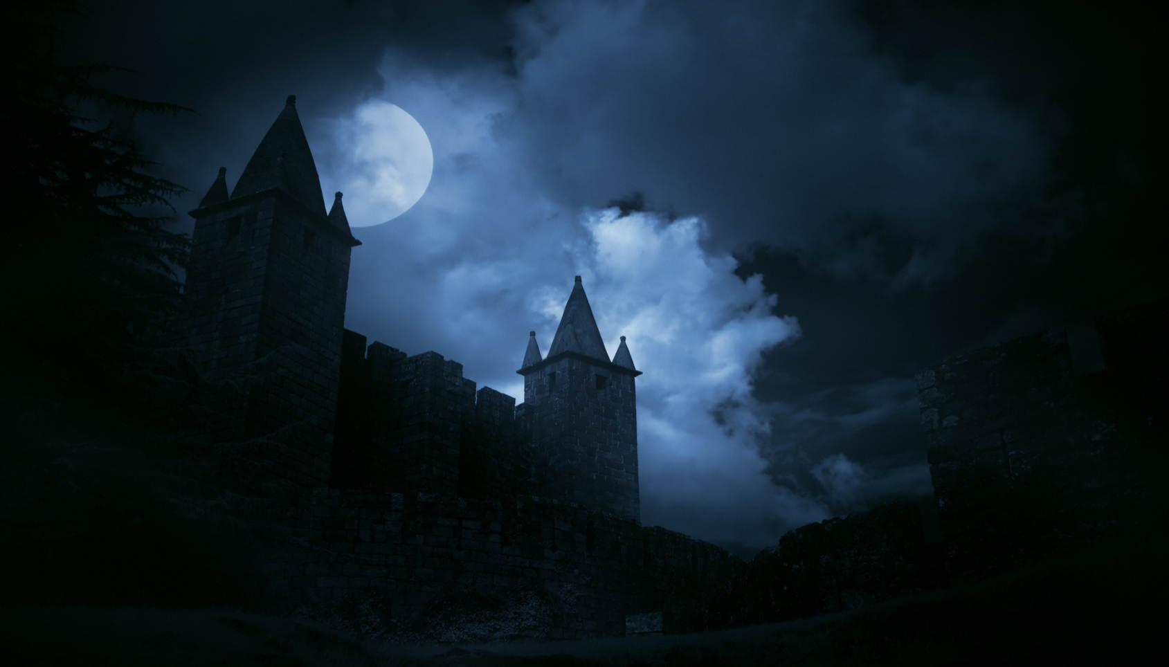 A photographic of a castle at night