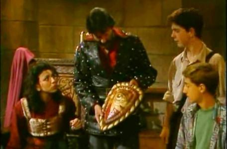 Knightmare Series 7 Team 7. Treguard examines the Shield that Barry has returned with.
