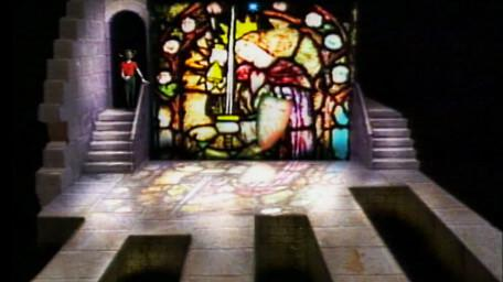 The Stained Glass Window, based on a handpainted scene by David Rowe, as shown on Series 3 of Knightmare (1989).