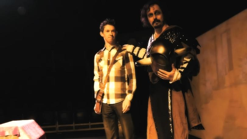 Keith as a Knightmare Live dungeoneer with Paul Flannery (Treguard) at the Udderbelly Festival, London South Bank, 2016.
