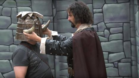 Treguard places on the Helmet of Justice. Knightmare Live in Edinburgh, 2013.