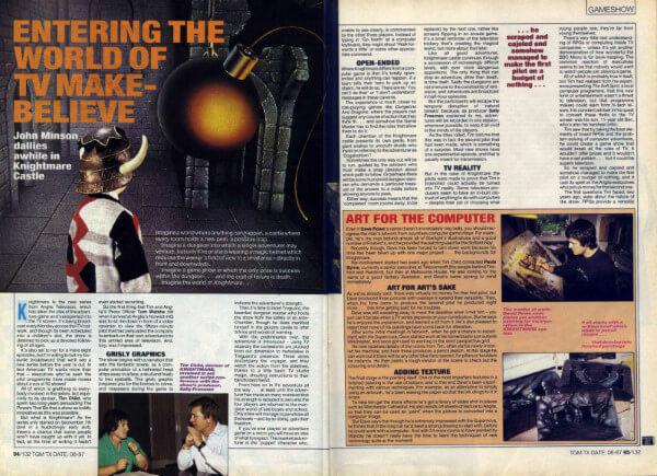 A preview of the first two pages of a 1987 article for The Games Machine, 'Entering the World of TV Make Believe'.