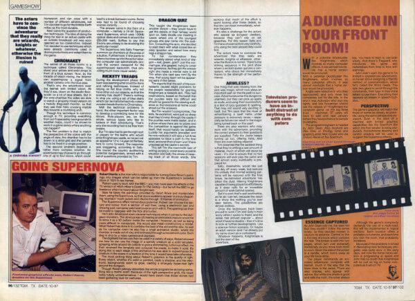 A preview of the final two pages of a 1987 article for The Games Machine, 'Entering the World of TV Make Believe'.