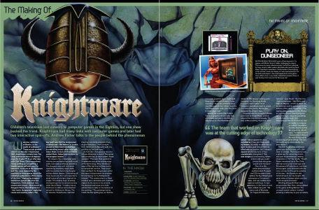A preview of the first two pages of the Retrogamer article, 'The Making of Knightmare' by Andrew Fisher in 2011.