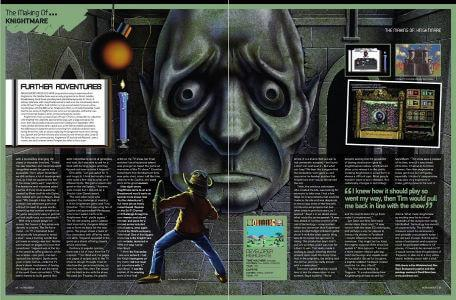 A preview of the final two pages of the Retrogamer article, 'The Making of Knightmare' by Andrew Fisher in 2011.
