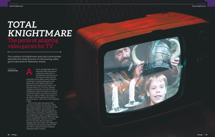 Image of the first spread of 'Total Knightmare' by Aaron Potter for Wireframe, Issue 40 (July 2020).