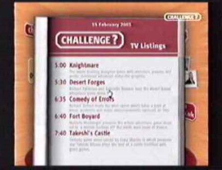 A Challenge TV schedule featuring Knightmare for February 2003.
